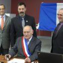 Richard Pi et Martin Nadeau, présidents des comités de jumelage ainsi qu'Alain Ouist et Henri Gagné maires
